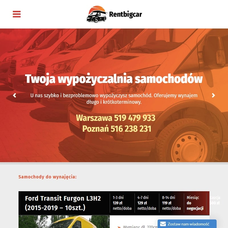 Poznań - wynajem samochodów dostawczych łowicz
